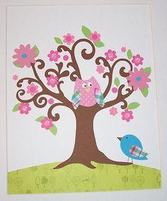 Nursery Art Baby Girl Room Art Kids Wall Art Bird por vtdesigns