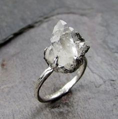 Natural Arkansas Quartz Crystal Cluster Sterling Silver gemstone Ring Raw Rough crystal recycled Sterling Cocktail Statement Ring Druzy