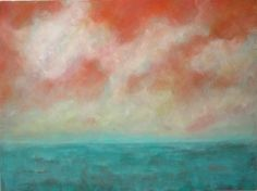 Another Sky - Oil painting on Canvas 30x40 orange and turquoise ocean beach clouds large abstract landscape palette knife painting. $285.00, via Etsy.