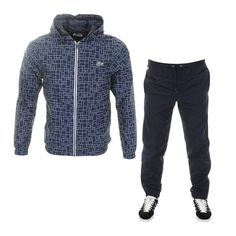 Lacoste Sport Hooded Print Tracksuit Navy