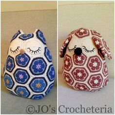 Oh, I love the owl!  $9.30 USD Crochet Patterns - Maggie the African Flower Owl and Mia the African Flower Dog by JOsCrocheteria, Etsy.com.