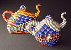 Karyn Kozak polymer clay teapots.