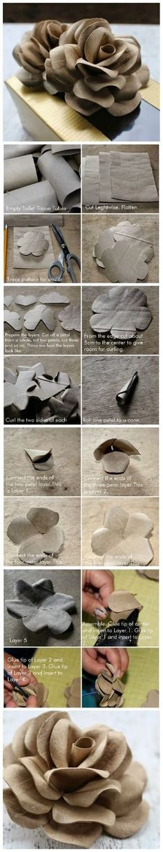 DIY Project: How To Make Roses Using Toilet Tubes (paper flowers for cards) Toilet Paper Roll Art, Rolled Paper Art, Toilet Paper Roll Crafts, Diy Paper, Giant Paper Flowers, Diy Flowers, Fabric Flowers, Flower Diy, Toilet Tube