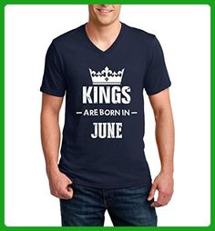 Ugo Kings Are Born in June Gift for Birthday Fathers Day Valentines Day Ringspun Men V-Neck T-Shirt - Birthday shirts (*Amazon Partner-Link)