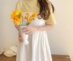 347 images about ❀ korean fashion ❀ on We Heart It Yellow Aesthetic Pastel, Pastel Yellow, Modesty Fashion, Pastel Outfit, Girl Fashion, Fashion Outfits, Korean Dress, Kawaii Clothes, White Outfits