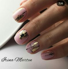 Installation of acrylic or gel nails - My Nails Foil Nail Art, Foil Nails, Nails With Foil, Minimalist Nails, Cute Nails, Pretty Nails, Hair And Nails, My Nails, Foil Nail Designs