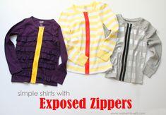 Exposed zipper sweater