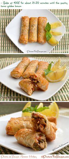 Baked Thai Basil Chicken Phyllo Rolls