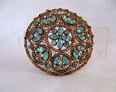 Vintage Turquoise Blue Rhinestone Brooch vjse2 vintage jewelry
