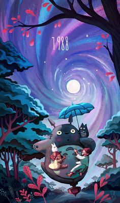 TOTORO <3 Here is the 3rd of my 8 tributes to Hayao Miyazaki. 1988 My Neighbour Totoro. Art of youcoucou, vincent belbari