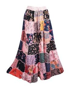 Mogul Interior Women's Maxi Skirt Pink Printed Patchwork Drawstring Rayon Gypsy Beach Skirts S/M Womens Maxi Skirts, Long Maxi Skirts, Summer Skirts, Hippie Skirts, Boho Skirts, Holiday Skirts, Festival Skirts, Beach Skirt, Gypsy Skirt