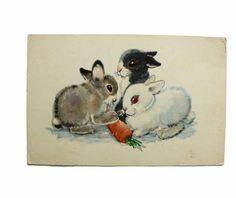 Bunnies Rabbits Soviet Greeting Card Old Soviet by oldUSSRvintage