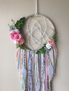 This floral dream catcher has some pink floral and greenery around the hoop, with soft colors in the strings. Done on an 8 hoop Purple Dream Catcher, Doily Dream Catchers, Dream Catcher Craft, Dream Catcher Boho, Crochet Dollies, Hippie Love, Macrame Art, Craft Night, Hanging Ornaments