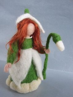 Needle felted Waldorf  Snowdrop Maiden-Flowers children- standing doll-soft sculpture-needle felt by Daria Lvovsky