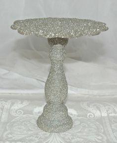 German Glass Glitter stand- Silver