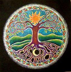 Tree of Life Mandala Drawing - Matted Print -Summer, Sun, Moon, Roots, Earth, Sacred Circle, Art, Drawing, Colored Pencil via Etsy