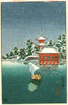 Sailboat, by Tsuchiya Koitsu, 1930's