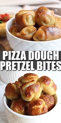 Get ready for super easy pizza dough pretzel bites! The whole family will love this pretzel bites recipe using store-bought pizza dough. Savory Snacks, Easy Snacks, Yummy Snacks, Easy Meals, Yummy Food, Healthy Night Snacks, Movie Night Snacks, Pizza Snacks, Tasty