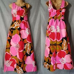 c751fe522dba Sun Fashions Of Hawaii Vintage Dress Medium Pink Brown Green Maxi Floral  Honolulu Empire Waist Ribbed Made In USA Zipper Closure