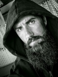 Polish guy amateur photo #beard #broda #man  #fullbeard #hood #b&w #portrait