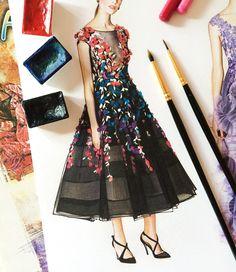 Marchesa fashion illustration @dustymemories