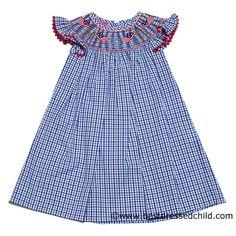 6b58d9f8e02 Clare and Charlie Girls Royal Blue Gingham Smocked Patriotic Flags -  Flutter Sleeve BISHOP Dress Patriotic
