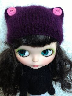 Blythe Knitted Purple Kitty Hat Beanie by BlytheandShine