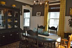 Dining room yellow and slate by newlywoodwards, via Flickr