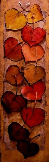 """Gold and Red Leaves"" 12023 by Carol Nelson mixed media ~ 24 x 7"
