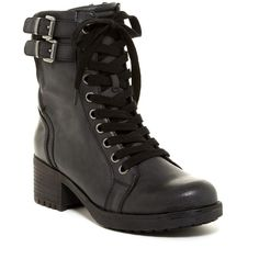 MIA Portland Combat Boot ($60) ❤ liked on Polyvore featuring shoes, boots, ankle booties, ankle boots, black, black lace-up boots, black lace up booties, black lace up bootie and black booties