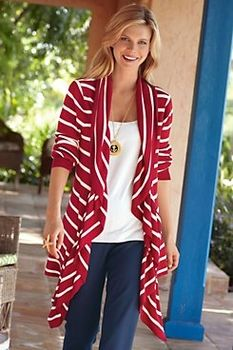 3d2541d73f Seaside Topper - Red And White Striped Cardigan-Soft Surroundings