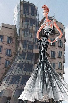 Blanka Matragi – sketch of dress and the Dancing Building.