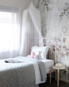 What a pretty little girl's room by @houseofharvee