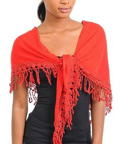 Take a look at this Red Fringe Wrap by Buy in America on #zulily today!