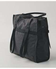 "Lululemon Grey ""Bliss"" Bag Wonderful large bag with multiple compartments and two pockets on outside for phone and water bottle. Wool material and leather handles. Very popular and no longer available. No trades. My Christmas Wish List, Cute Bags, Athletic Outfits, Leather Handle, Womens Scarves, Lululemon Athletica, Bliss, Active Wear, Workout"