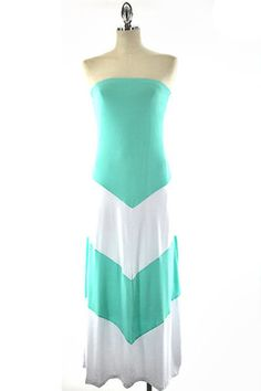 New Mint and White Colorblock Chevron Maxi Strapless Lined Summer Dress s M L | eBay