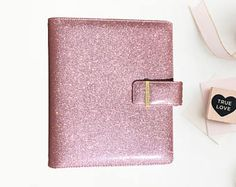 A5 Rose Gold Pink Glitter Planner Binder, Sparkle, A5 planner binder Rose Gold Pink, Pink Glitter, A5 Ring Binder, Organizers, Sparkle, Rings, Stuff To Buy, Etsy, Planners