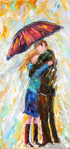 Original oil painting Umbrella Rain Couple modern by Karensfineart