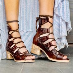Receive serious shoe envy when you shop the FREEBIRD Stores collection. The best boots & booties of handcrafted masterpieces for the boot enthusiasts. Black Leather Shoes, Leather And Lace, Leather Sandals, Leather Boots, Gladiator Sandals Heels, Studded Sandals, Lace Up Sandals, Steven Shoes, Cool Boots