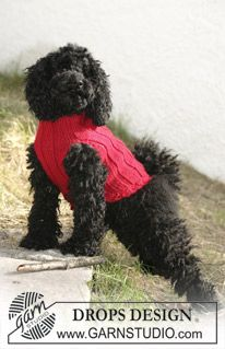 "DROPS dog coat in ""Alaska"". ~ DROPS Design(#4 weight yarn)"