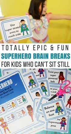 These totally epic superhero brain break cards for kids who can't sit still are a game-changer for helping wiggly kids get their energy out! Super Hero Activities, Super Hero Games, Train Activities, Movement Activities, Classroom Activities, Activities For Kids, Physical Activities, Superhero Games For Kids, Superhero Kindergarten