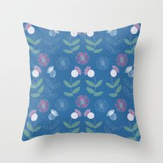 Thistles and Flowers Throw Pillow by Southernemma - $20.00