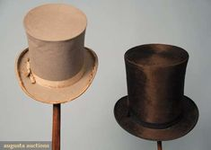 Augusta Auctions, March 2010 NYC, Lot 233: Two Gents' Top Hats, 1840-1860
