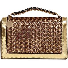 Stella McCartney Braided Metallic Clutch ($645) ❤ liked on Polyvore featuring bags, handbags, clutches, bolsas, gold, woven handbags, gold metallic purse, metallic purse, brown purse and gold purse