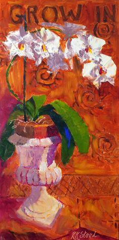 Original artwork from artist Roxanne Steed on the Daily Painters Gallery Flower Art, Art Flowers, Palette Knife Painting, Original Paintings, Oil Paintings, Still Life, Orchids Painting, Wallpaper, Artist