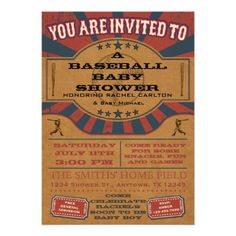 Vintage Baseball Baby Shower Invitations are a cute choice for a boy's summer baby shower. Design features old-fashioned baseball graphics. Football Baby Shower Invitations, Baseball Birthday Invitations, Baseball Birthday Party, Custom Baby Shower Invitations, Sports Birthday, 17 Birthday, Star Baby Showers, Vintage Football, Sports Baby