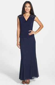 Alex Evenings Embellished Mixed Media Mock Two-Piece Gown (Regular & Petite) available at #Nordstrom