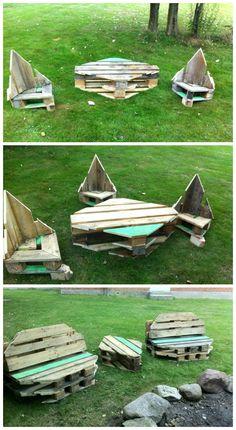 Pallet Garden set #Furniture, #Garden, #Outdoor, #Pallets, #Reclaimed