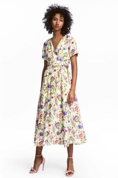 Vestido cruzado con estampado - Amarillo - MUJER | H&M ES