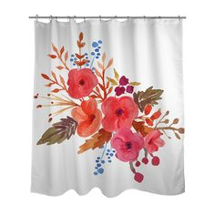 A Beautiful Autumn Floral Watercolor Design Is Professionally Printed On Fabric Shower Curtain Each Custom Order